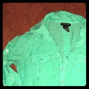 Mint green collared shirt